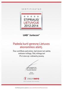 """UAB """"Juriscon"""" - stipriausi Lietuvoje 2012-2014"""